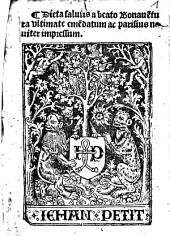 Dieta salutis a beato Bonaue[n]tura vltimate eme[n]datum ac parisius nouiter impressum
