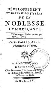 Développement et défense du systême de la noblesse commerçante