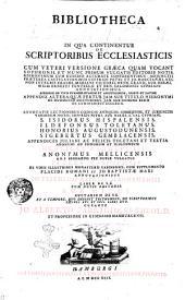 Bibliotheca Ecclesiastica, in qua continentur de scriptoribus ecclesiasticis S. Hieronymus cum veteri versione graeca quam vocant Sophronii et nunc primum vulgatis editoris notis ... Gennadius Massiliensis ... S. Isidorus Hispalensis ... Ildefonsus Toletanus ... Honorius Augustodunensis ... Sigebertus Gemblacensis ... Henricus Gandavensis ... Anonymus Mellicensis ... Petrus Casinensis ... Jo. Trithemii abbatis Spanhemensis liber de S.E. ... Aub. Miraei auctarium de S.E. ... Curante Jo. Alberto Fabricio, S.S. Theold. et professore in Gymnasio Hamburgensi