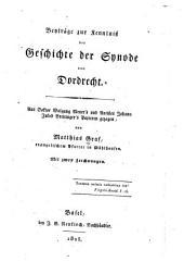 Beyträge zur Kenntniss der Geschichte der Synode von Dordrecht