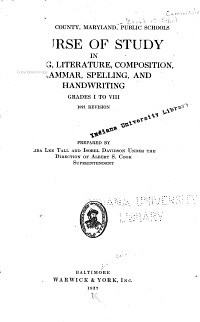 Course of Study in Reading  Literature  Composition  Grammar  Spelling and Handwriting  Grades I to VIII