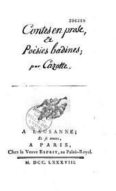 Contes en proses et poésies badines [par Jacques Cazotte]