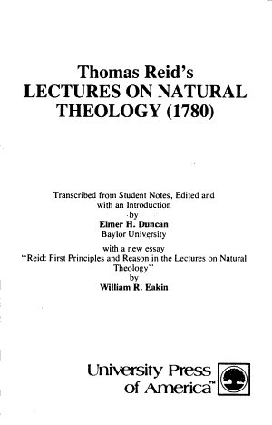 Thomas Reid s Lectures on Natural Theology  1780  PDF