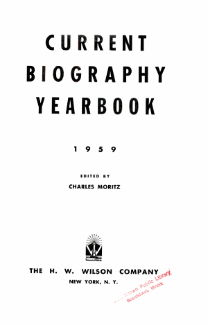 Current Biography Yearbook 1959