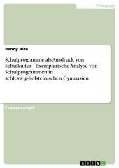 Schulprogramme als Ausdruck von Schulkultur - Exemplarische Analyse von Schulprogrammen in schleswig-holsteinischen Gymnasien