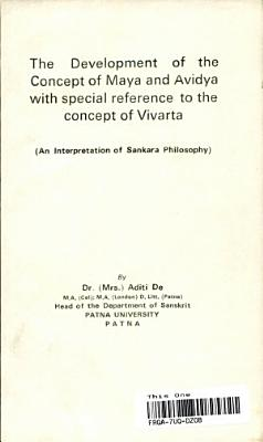 The Development of the Concept of Maya and Avidya with Special Reference to the Concept of Vivarta PDF
