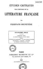 Études critiques sur l'histoire de la littérature française: Quatrième série