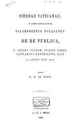 Schedae Vaticanae in quibus retractantur Palimpsestus Tullianus De re publica, C. Iulius Victor, Iulius Paris, Ianuarius Nepotianus, Alii ab Angelo Maio editi