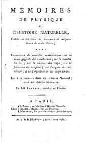 Mémoires de physique et d'histoire naturelle