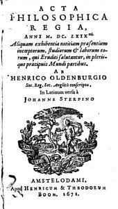 Acta philosophica regia, anni 1669