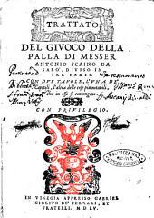 Trattato del giuoco della palla di messer Antonio Scaino da Salò, diuiso in tre parti. Con due tauole, l'vna de' capitoli, l'altra delle cose piu notabili, che in esso si contengono