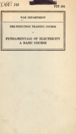 Pre-induction Training Course: Fundamentals of Electricity, a Basic Course