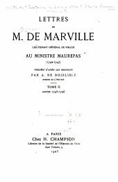 Lettres de M. de Marville, lieutenant général de police, au ministre Maurepas (1742-1747)