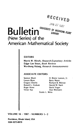 Bulletin of the American Mathematical Society PDF