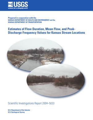 Estimates of flow duration  mean flow  and peak discharge frequency values for Kansas stream locations
