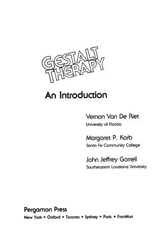 Gestalt Therapy  an Introduction