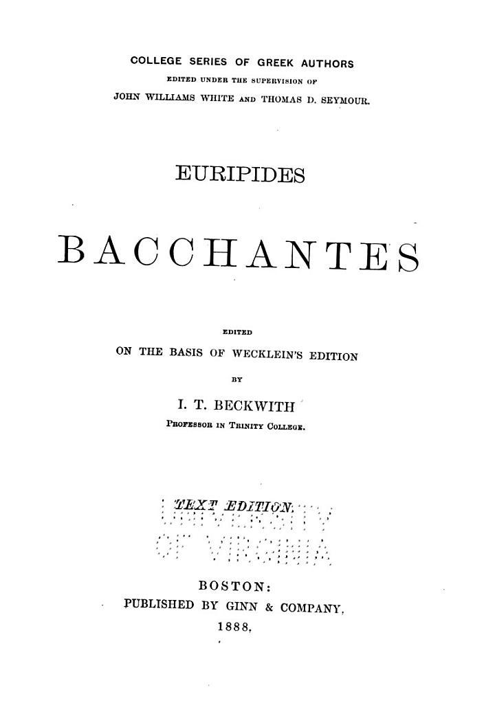 Euripides Bacchantes