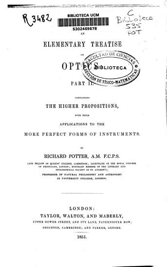 An Elementary Treatise on Optics PDF