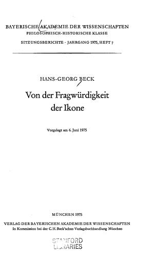 Von der Fragw  rdigkeit der Ikone PDF