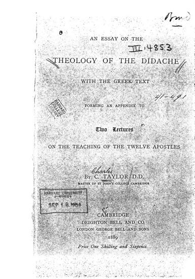An Essay on the Theology of the Didache  with the Greek Text PDF