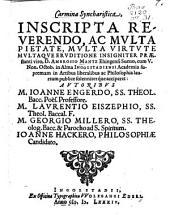 Carmina Syncharistica, inscripta ... Ambrosio Mantz ...