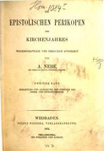 Die evangelischen und epistolischen Perikopen des Kirchenjahres0 PDF