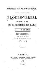 Procès-verbal des séances de la Chambre des Pairs: 1815,1