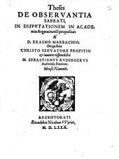 Theses De Observantia Sabbati: In Disputationem In Academia Argentinensi propositae