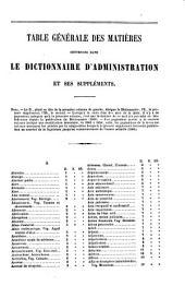 Dictionnaire général d'administration: contenant la définition de tous les mots de la langue administrative et sur chaque matière .... Suppléments pour la période de 1849 a 1860