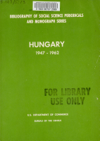 Bibliography of Social Science Periodicals and Monograph Series   Hungary  1947 1962 PDF