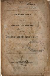 Communication from the President and Directors of the Chesapeake and Ohio Canal Company to the Governor of Maryland