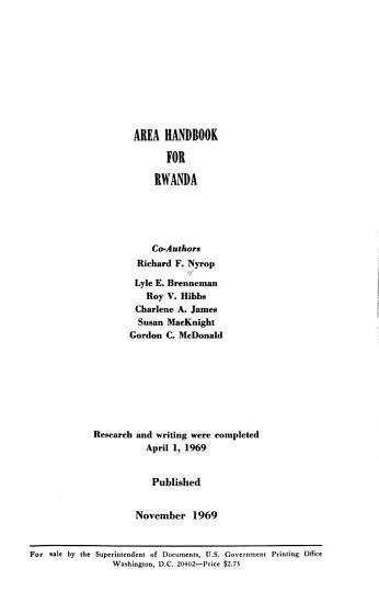 Area Handbook for Rwanda PDF