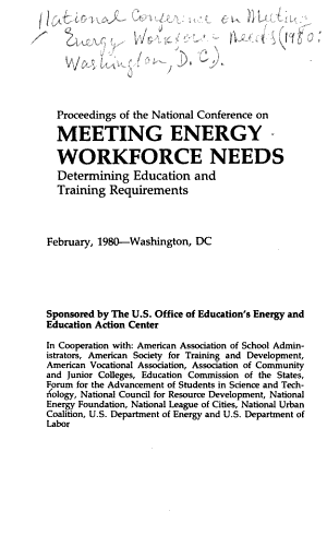 Proceedings of the National Conference on Meeting Energy Workforce Needs