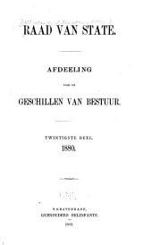 Raad van State: afdeeling voor de geschillen van bestuur, Volume 20