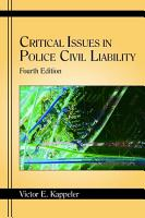 Critical Issues in Police Civil Liability PDF
