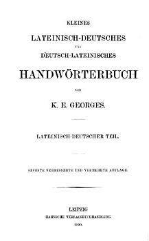 Kleines lateinisch deutsches Handw  rterbuch PDF