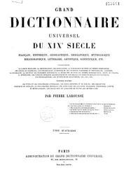 Grand dictionnaire universel du XIXe si  cle  A Z  1866 70 PDF