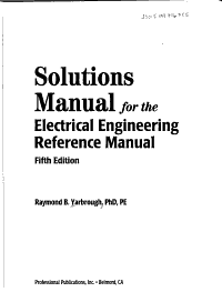 Solutions Manual for the Electrical Engineering Reference Manual