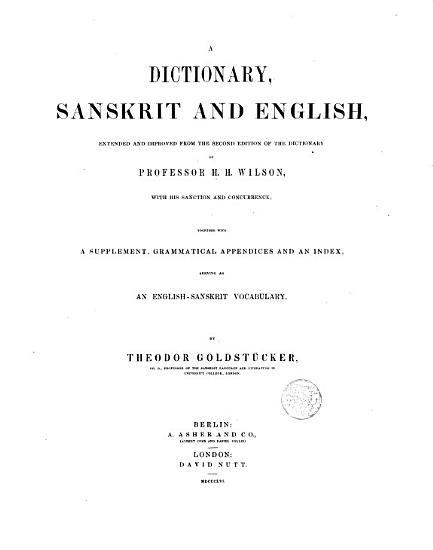 A Dictionary  sanskrit and English PDF