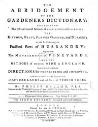 The Abridgment Of The Gardener S Dictionary The Sixth Edition Much Enlarged Book PDF