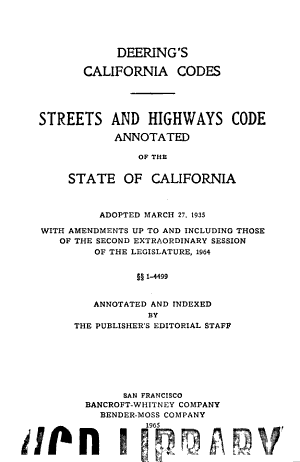 Streets and Highways Code  Annotated  of the State of California PDF
