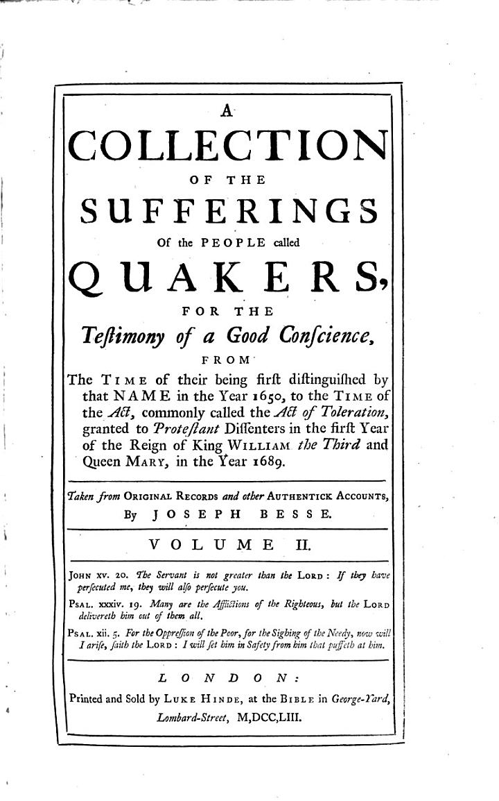 A Collection of the Sufferings of the People Called Quakers
