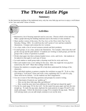 James Marshall Literature Activities  The Three Little Pigs