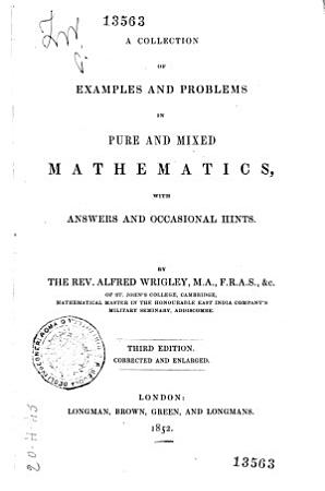 Collection of Examples and Problems in Pure and Mixed Mathematics PDF