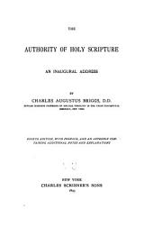 The Authority of Holy Scripture: An Inaugural Address