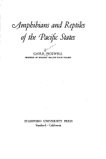Amphibians and Reptiles of the Pacific States
