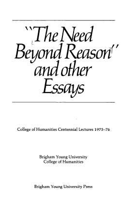 The Need Beyond Reason  and Other Essays PDF