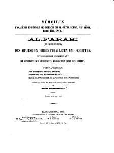 Al Farabi  Alpharabius  des arabischen philosophen Leben und Schriften mit besonderer R  cksicht auf die Geschichte der griechischen Wissenschaft unter den Arabern nebst Anh  ngen PDF