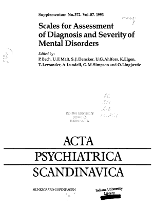 Scales for Assessment of Diagnosis and Severity of Mental Disorders