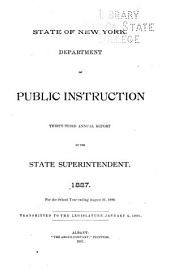 Annual Report of the Superintendent of Public Instruction, of the State of New-York: Volume 33